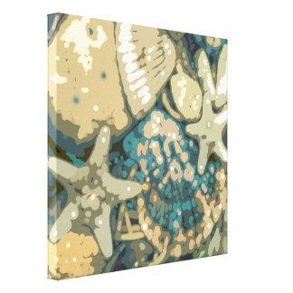 Abstract Nautical Beach Shells Canvas Wall Art
