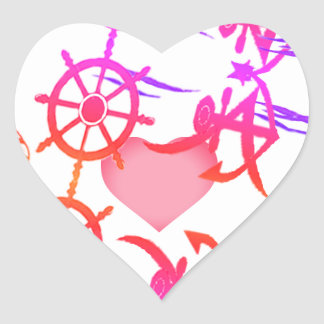 Abstract nautical love heart sticker