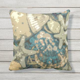 Abstract Nautical Seashells Starfish Throw Pillow