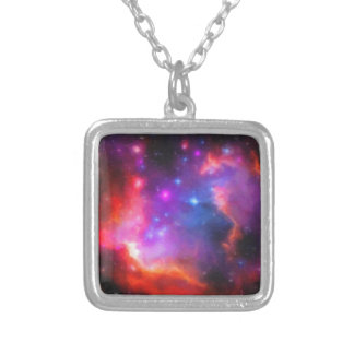 Abstract Nebula of Magellanic Cloud Silver Plated Necklace
