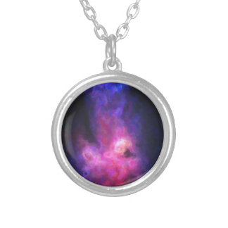 Abstract Nebulla with Galactic Cosmic Cloud 27 Silver Plated Necklace