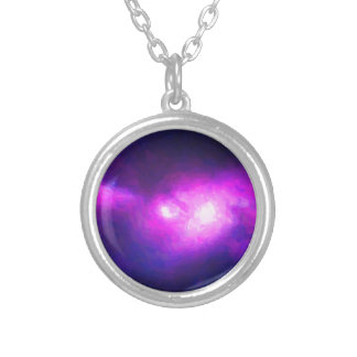 Abstract Nebulla with Galactic Cosmic Cloud 28 Silver Plated Necklace