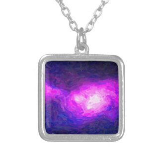 Abstract Nebulla with Galactic Cosmic Cloud 28a.jp Silver Plated Necklace