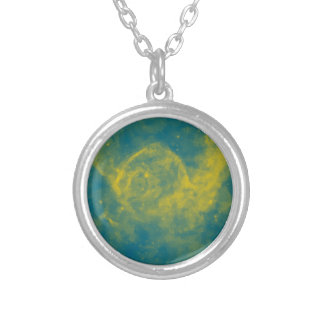 Abstract Nebulla with Galactic Cosmic Cloud 29a.jp Silver Plated Necklace
