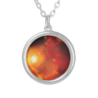 Abstract Nebulla with Galactic Cosmic Cloud 30 Silver Plated Necklace