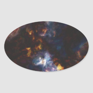 Abstract Nebulla with Galactic Cosmic Cloud 34 Oval Sticker