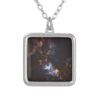 Abstract Nebulla with Galactic Cosmic Cloud 34 xl. Silver Plated Necklace