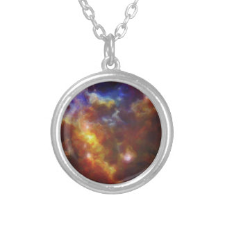 Abstract Nebulla with Galactic Cosmic Cloud 37 Silver Plated Necklace