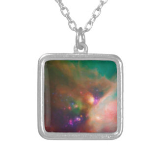 Abstract Nebulla with Galactic Cosmic Cloud 44 med Silver Plated Necklace