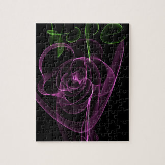 """Abstract Neon Pink Rose Green  """"Hope"""" Jigsaw Puzzle"""