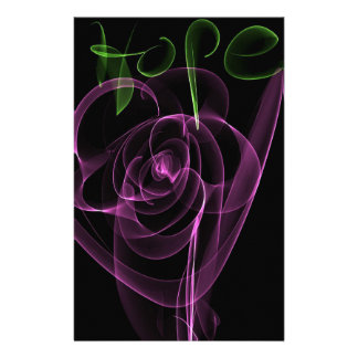 "Abstract Neon Pink Rose Green  ""Hope"" Stationery"