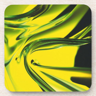 Abstract Neon Yellow and Green Glass Coaster