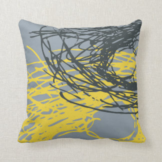 Abstract Nest design in gray and yellow Throw Pillow