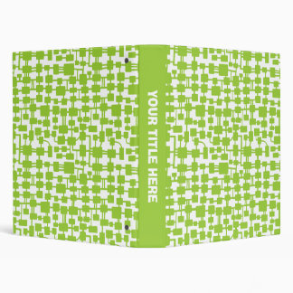 Abstract Network (1.0in) - Martian Green on White 3 Ring Binder