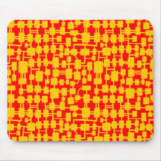 Abstract Network - Amber on Red FF0000 Mouse Pad
