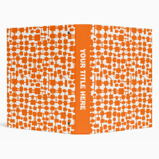 Abstract Network - Orange on White 3 Ring Binder