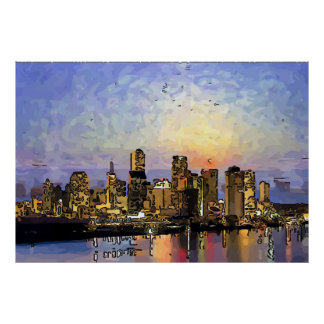 Abstract New Orleans Sunrise Poster