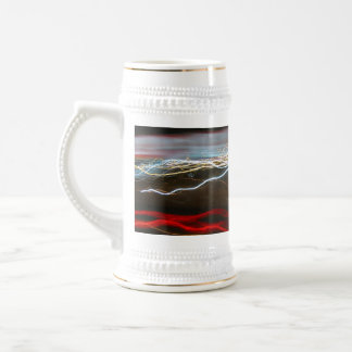 Abstract Night Time Light Trails Blur Beer Stein