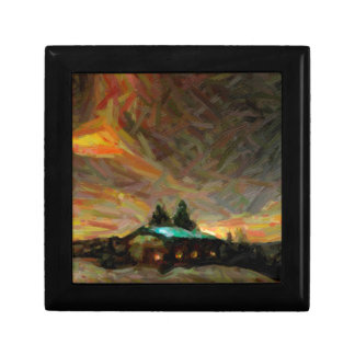 abstract nordic winter scene gift boxes