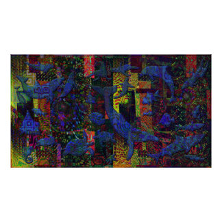 Abstract Ocean Aquatic Life Art Poster
