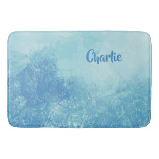 Abstract Ocean custom name bath mats