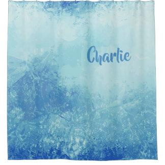 Abstract Ocean custom name shower curtain