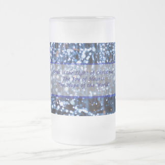Abstract Of Blue Lights Text Frosted Glass Beer Mug