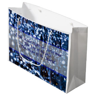 Abstract Of Blue Lights Text Large Gift Bag