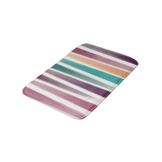 Abstract oil brush strokes in marsala and teal bath mat