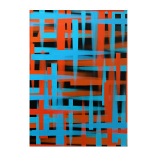 Abstract oil brush strokes in orange and blue acrylic wall art