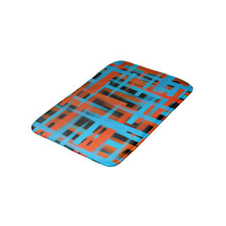 Abstract oil brush strokes in orange and blue bath mat