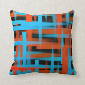 Abstract oil brush strokes in orange and blue throw pillow
