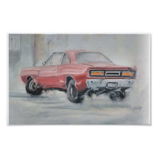 Abstract oil classic car poster