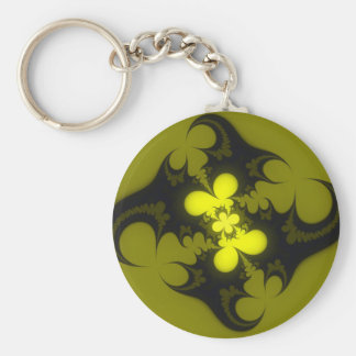 Abstract olive basic round button keychain