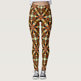 Abstract Orange And Brown Pattern Leggings