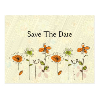 Abstract Orange and Lime Flowers Save The Date Postcard