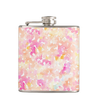 Abstract Orange and Pink Watercolor Gifts Flask