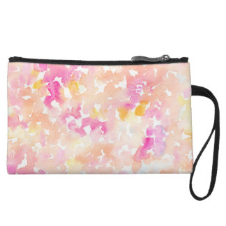 Abstract Orange and Pink Watercolor Gifts Wristlet Purse