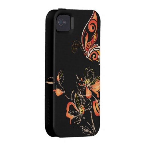 Abstract Orange Butterfly and Floral iPhone 4 Case