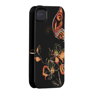 Abstract Orange Butterfly and Floral Vibe iPhone 4 Cover