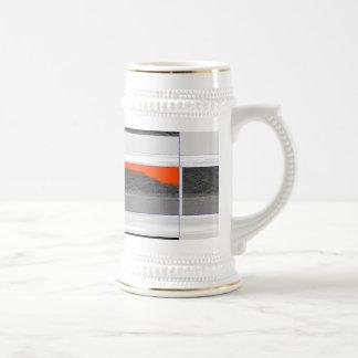 Abstract Orange Flag 18 Oz Beer Stein