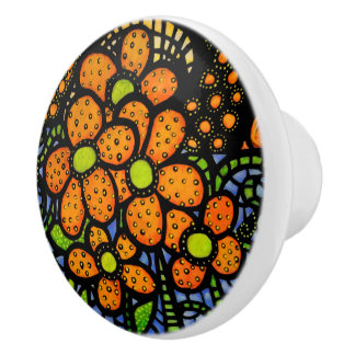 Abstract Orange Flowers  Bright Colors Ceramic Knob