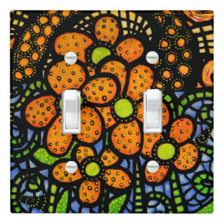 Abstract Orange Flowers Bright Colors Light Switch Cover