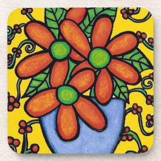 Abstract Orange Flowers In Blue Vase Coaster