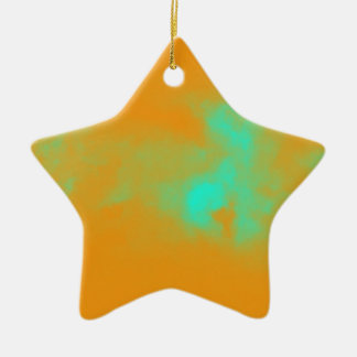 Abstract Orange Nebulla with Galactic Cosmic Cloud Ceramic Ornament