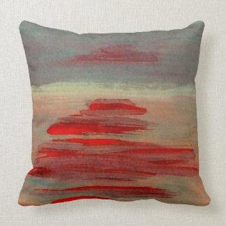 Abstract Orange Olive Sunset Beach Scene Pillow