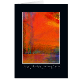 Abstract Orange Painting Birthday Card for Sister