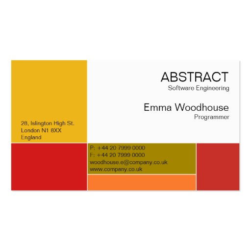 Abstract Orange & Red Business Card