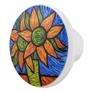 Abstract Orange Sunflowers Bright Colors Ceramic Knob