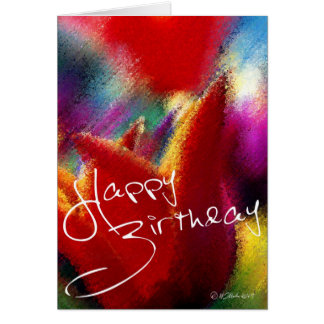 Abstract Orange Tulip Bithday Card